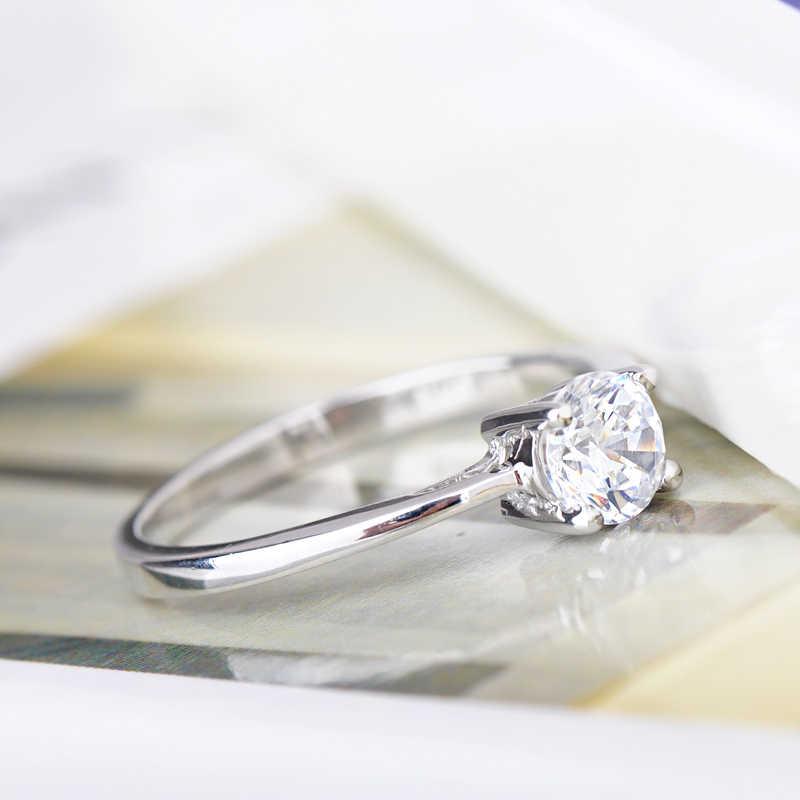 90% OFF แฟชั่นประกาย AAA CZ งานแต่งงานแหวนคู่แหวนเงิน 925 สำหรับผู้หญิงผู้ชายของขวัญวันวาเลนไทน์