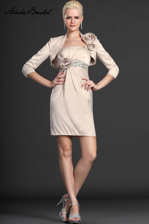 Krótki zroszony matka pana młodego sukienki i kurtka płaszcza kolano długość Vestidos Madre De La Novia matka suknia