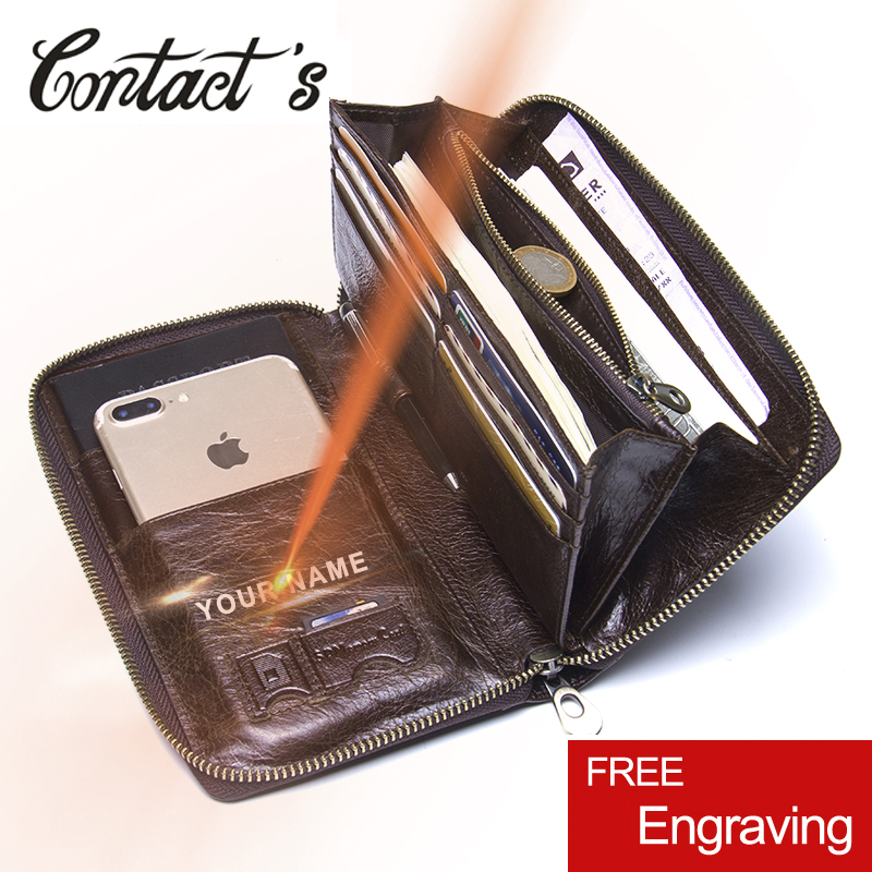 Contact's Men Long Clutch Wallets Genuine Cowhide Leather Men Zipper Purses Fashion Passport Wallet With Phone Bags Card Holder