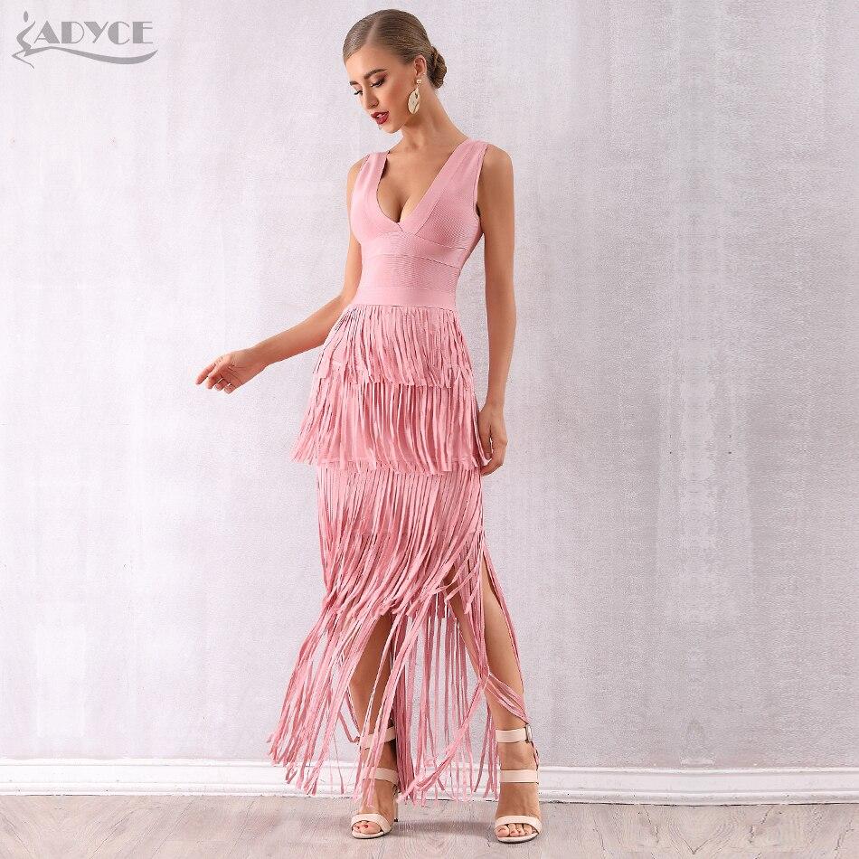 Adyce 2019 New Summer Pink Fringe Women Bandage Dress Vestidos Maxi Tassels Club Dress Sexy Deep