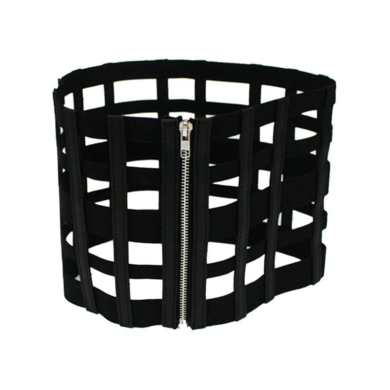 12PCS/LOT SINGYOU Women Wide Belt Fashion Zipper Designer Faux Leather Belt Slim Body Black Hollow Fashion Cummerbunds