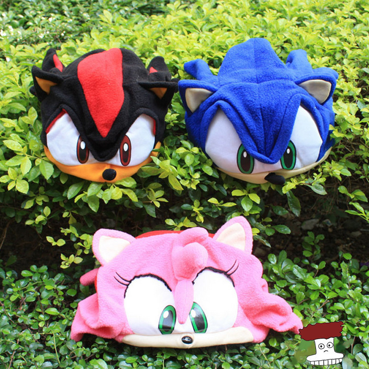 Anime Cartoon Sonic The Hedgehog Plush Hat Cosplay Cap Warm Winter Hat For Kids 3 Colors the new children s cubs hat qiu dong with cartoon animals knitting wool cap and pile