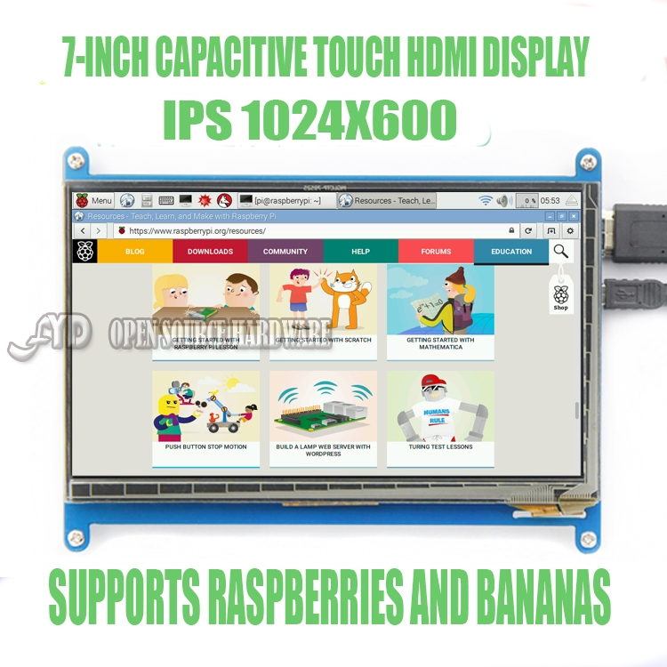 <font><b>7</b></font> <font><b>inch</b></font> <font><b>LCD</b></font> capacitive touch <font><b>display</b></font> Raspberry Pi3 1024X600 image