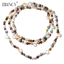 Fashion Natural Freshwater Pearl Necklace For Women Long Pearl Necklace 160 Cm,beautiful Bohemian stye Baroque Pearl Necklace beautiful rare 18 33mm baroque black keshi reborn pearl necklace