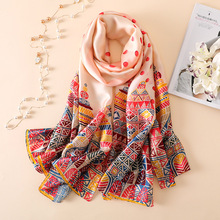 купить New silk scarf women fashion dot Castle pattern shawl wrap elegant lady foulard bandana top quality travel pashmina hijab femme дешево