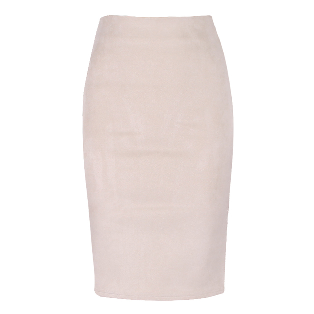 High Waist Suede Pencil Skirt 4