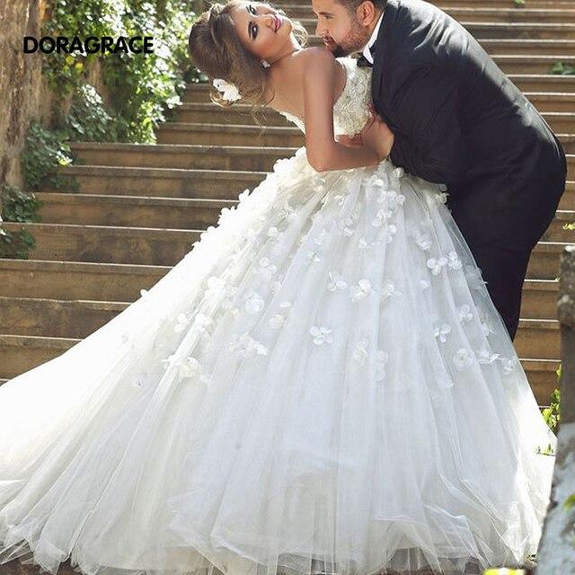 804d1b52a299 New Arrival Romantic Applique Beaded A Line Court Train Wedding Dresses  Designer Wedding Gowns DG0075