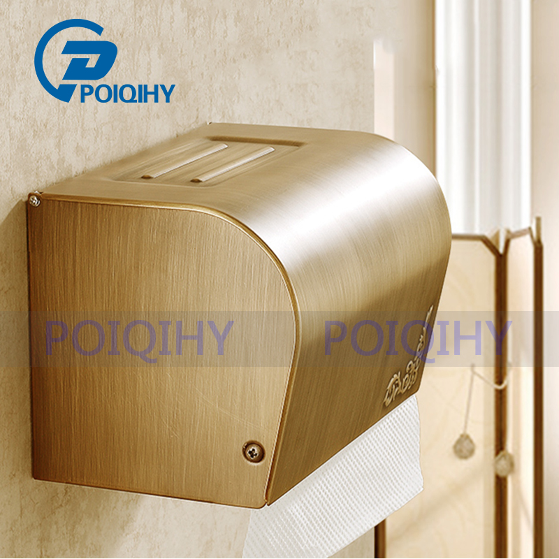 POIQIHY Free Shipping Antique Brass Bathroom Wall Mounted Toilet Paper Holder Tissue Holder W/ Cover wholesale and retail wall mounted bathroom toilet paper holder antique black brass roll tissue box free shipping 7816
