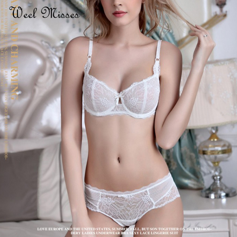 Weel Misses New Arrival 2017 Women Solid Sexy Bra Sets Bow Lace Comfortable Big Cup Underwear Sets