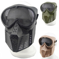 CS Fly Plastic Mask With Metal Mesh Gauze Network Full Face Safe Mask For Outdoor Survival