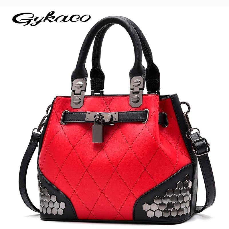 Gykaeo Tote Bags Handbags Women Famous Brands 2018 New Winter Female Fashion Handbag Plaid Rivet Sequined Messenger Shoulder Bag уход за малышом aura губка боб ватные палочки стакан 200 шт