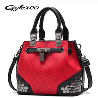 Gykaeo Tote Bags Handbags Women Famous Brands 2017 New Winter Female Fashion Handbag Plaid Rivet Sequined
