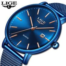 LIGE – montre à Quartz pour hommes, marque de luxe, Slim, maille, Date, étanche, bleu, nouvelle collection