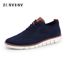 ZENVBNV 2018 New Summer Air Mesh Breathable Light Men Casual Shoes Business Formal Weave Carved Oxfords Wedding Dress