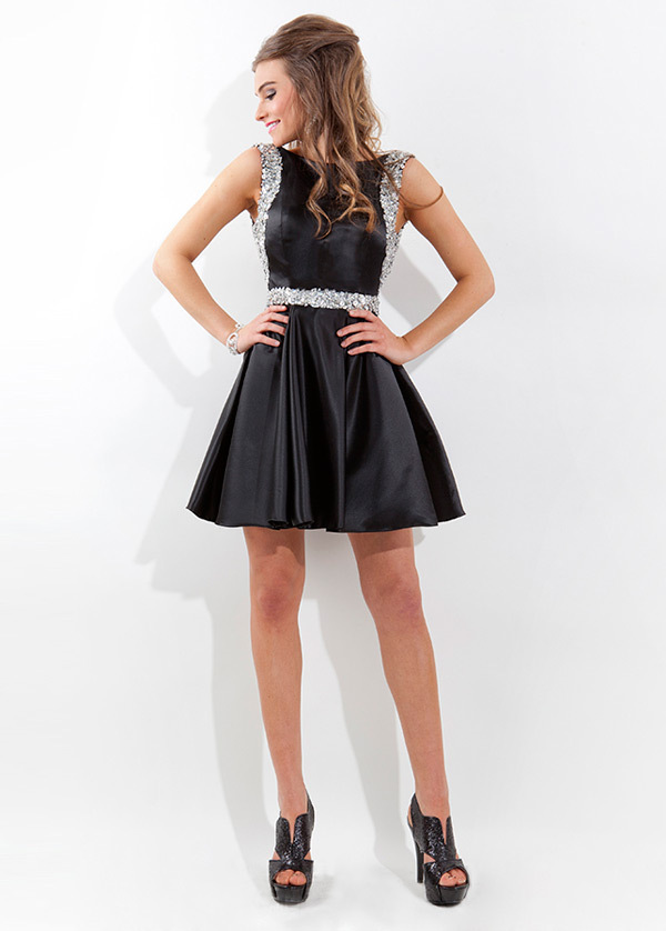 Sexy Beading Black Short Cocktail Dresses 2015 A  Line Scoop Neck Custom Made Open Back Satin Homecoming Party Gown Vestidos De