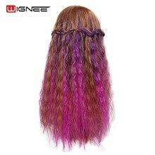 Wignee кудрявые волосы для наращивания на заколках, 5 шт., для женщин, высокотемпературное синтетическое волокно, натуральные накладные волосы, Омбре, фиолетовый/розовый/серый