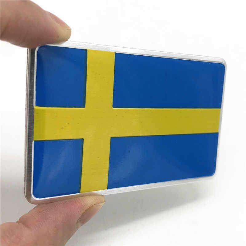 アルミ合金スウェーデン国旗エンブレム車 3D ステッカー用ボルボ S90 SAAB SCANIA VW ゴルフパサート日産