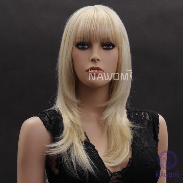 Trendy Kanekalon Blonde Blunt Bang Below Shoulder Length Hairstyle
