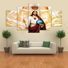 Decoration On Canvas Wall Art Home Framework Modular 5 Panel Jesus Living Room HD Printed Modern Picture Posters Painting(China)