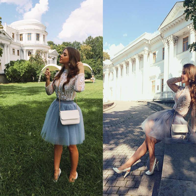 Calidad 5 capas moda tul Falda plisada tutú faldas Mujer Lolita enaguas damas de honor Falda Midi Jupe Saias faldas