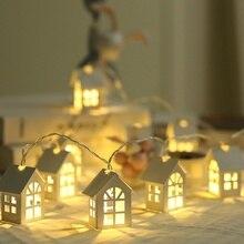 1,5 м светодио дный елки Декор светодио дный свет гирлянда с домиками Свадебный венок новогоднее; рождественское украшения на Рождество вечерние 10 шт.