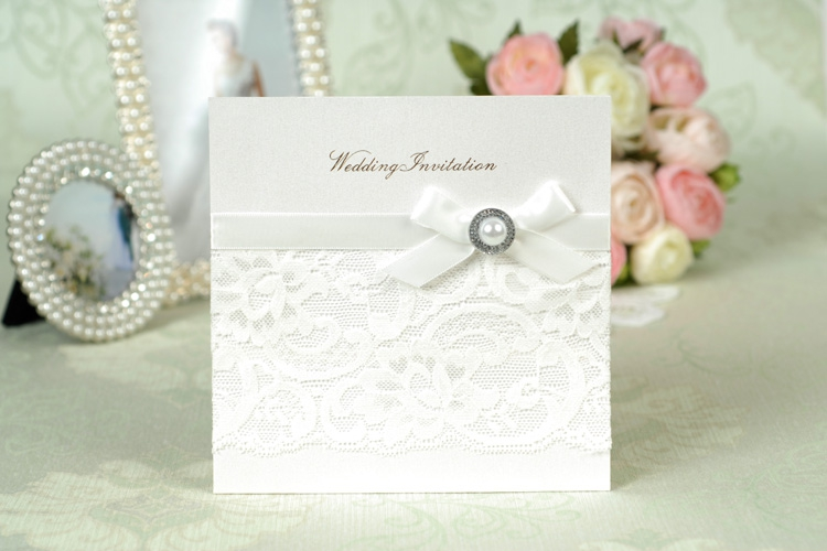 Wedding Invitations Lace And Pearl: Wedding Invitation White Color With Lace Pearl Ribbon