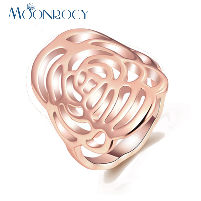MOONROCY Free Shipping Jewelry Wholesale Rose Gold Color Party Flower Austrian Crystal Rings Fashion Hollow Ring for Women Gift
