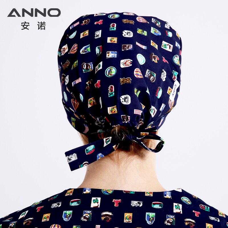 ANNO Brand Short Hair Medical Hat Surgical Surgeons Surgery Hat Cap Hospital Doctor Nurse Cap Chapeau Scrub Hats medical mask