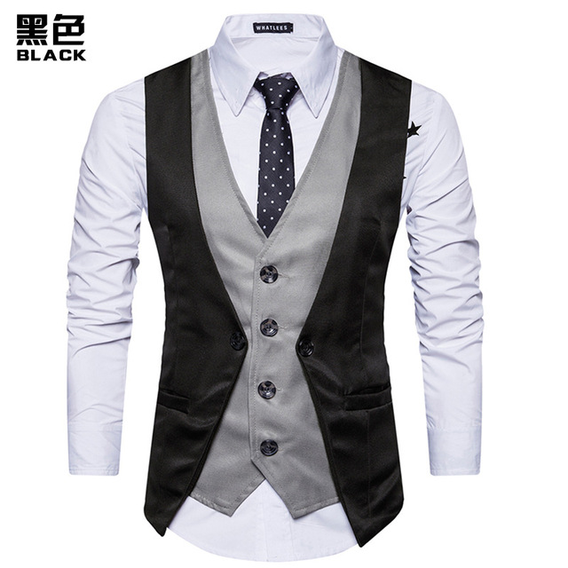 FFXZSJ Brand Fashion Fake Two Piece Vest Men Single Breasted Men Dress Suit Vests Male Formal Slim Business Wedding Waistcoat