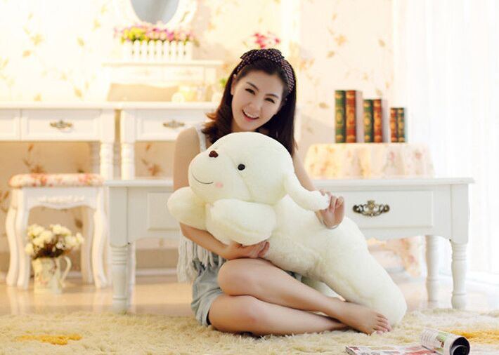 Stuffed toy fragrance dog plush toy large 80cm white prone dog soft throw pillow Christmas gift w5357 stripes sweater design prone husky largest 165cm gray husky dog plush toy sleeping pillow surprised christmas gift h907