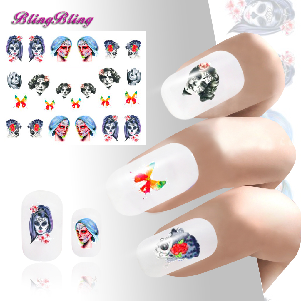 2PCS New Halloween Nail Art Water slide Stickers Decals Nail Wraps ...