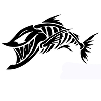 58cm x 34.8cm 2 x Skeleton Fish Funny Graphical (one For Each Side) Car Sticker For Truck Window Auto Door Vinyl Decal 13 Colors