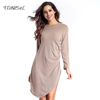 Knit Dress High Slit Sweater Women Long Sleeves Solid Bodycon Mini Dress T Shirt Side Open