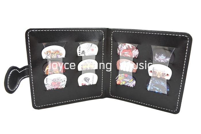 휴대용 가죽 기타 선택 지갑 & 12pcs 락 스타일 셀룰로이드 기타 Plectrums 무료 배송