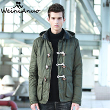 WEINIANUO Men's Thicken Casual Coats Jacket Male Warm Parkas Hooded Collar  Hat Detachable Cotton-Padd Warm Mens Coat Jacket 262