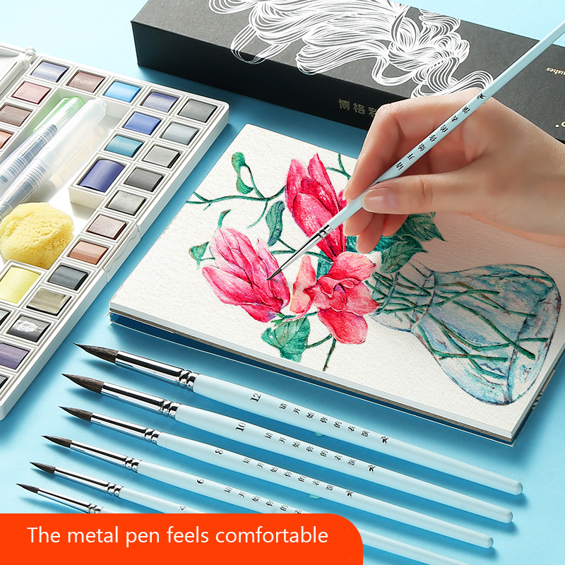 Bgln Animal Hair Watercolor Pen Pen Set Color Brush Set Beginner Student Gouache Brush Round Head Pointed Art Supplies