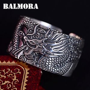 Image 2 - BALMORA Real 999 Pure Silver Dragon Buddhism Sutra Open Rings For Men Stacking Ring Vintage Cool Punk Finger Ring Jewelry Gift