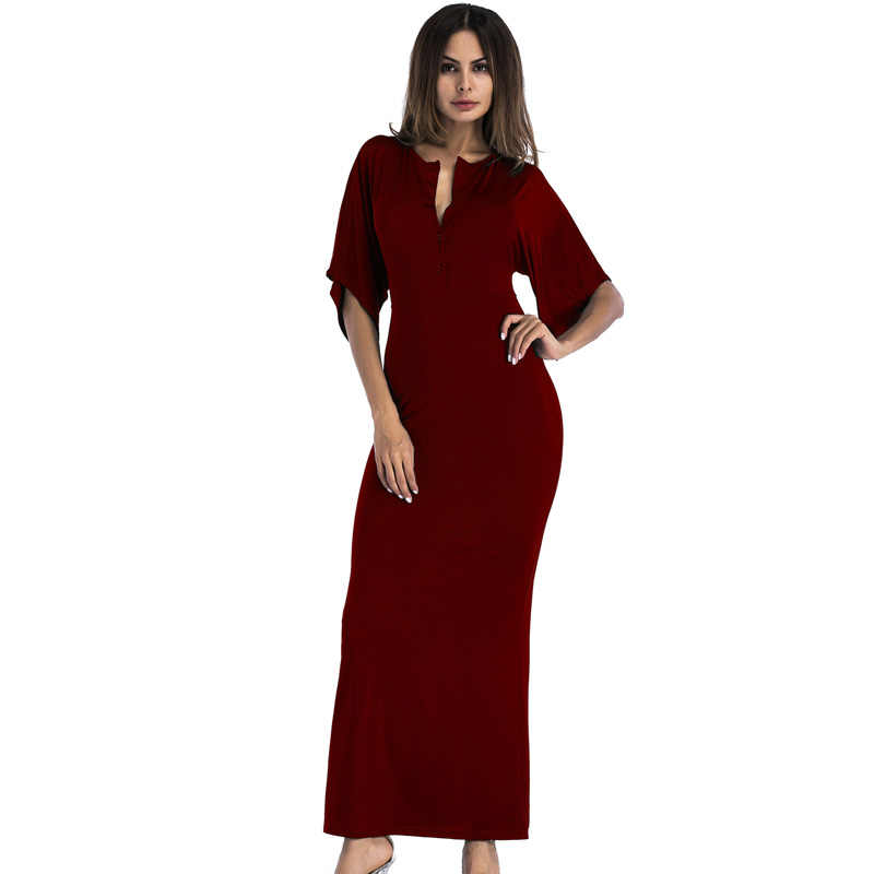 ... plus size sexy v neck long maxi tunic party dresses 2018 fashion green  yellow red black ... c1cf86788cb1