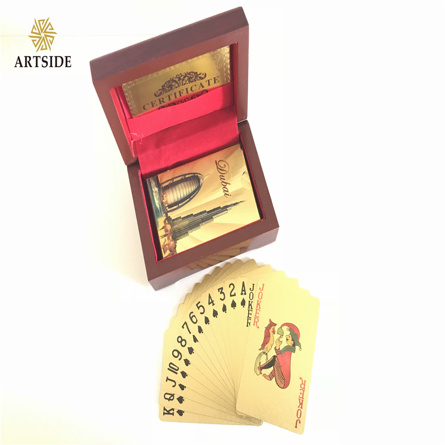 DUBAI Burj And Burj Al Arab Hotel 24K Gold-Foil Plated Playing Cards Poker Table Games With Elegant Wooden Gift Box