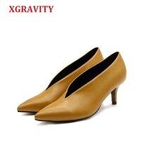 XGRAVITY 2018 Pop Star Pointed Toe Girl Thin Heel Woman Shoes Deep V Design Lady Fashion Shoes Elegant European Women Shoes C264