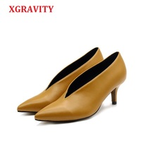 XGRAVITY Shoes Elegant Thin Heel Star Pointed-Toe Girl Deep-V-Design Fashion Lady European