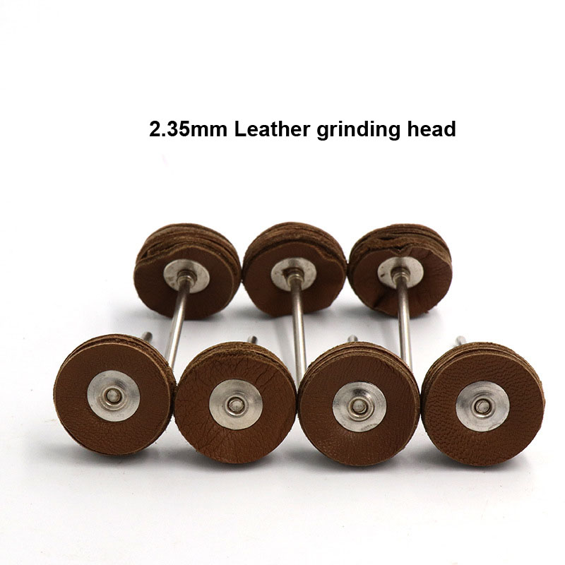 High Quality 2.35mm Shank 5 Layers Cowhide Leather Grinding Heads Mill Tool Amber Bright Mirror Polish Leather Pad Wheel Disk