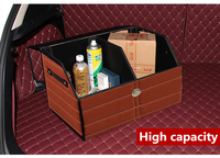 Car Styling Leather Folding Trunk Stripe Storage Box Organizer Home Exquisite Trash Save Space Anti slip Secure With Side Handle
