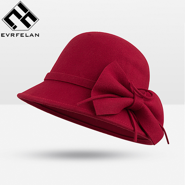 Fashion Soft Vintage Woolen Fedoras Hat Floppy Cloche Brand Spring Winter  Wool Hat For Women Chapeu Female Cute Bucket Hat 0edea4e041a