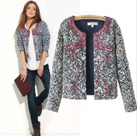 2014 Fashion New Europe Winter Blue And White Printed Women Cotton Floral Slim Jacket Coat Women