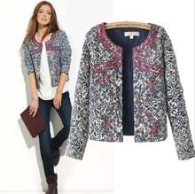 2017 Fashion New Europe winter blue and white printed Women cotton Floral Slim Jacket Coat women embroidery slim outwear Blazer