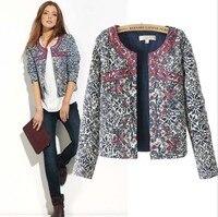 2017 Moda Yeni Avrupa kış mavi ve beyaz baskılı Kadınlar pamuk Çiçek Ince Ceket Ceket kadınlar nakış ince giyim Blazer