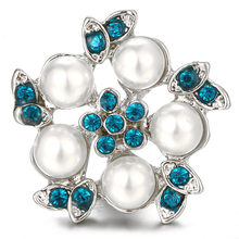 18mm Snap Button Crystal And Pearl Design For Women Suitable Snap Jewelry High Quality Party Accessories Mother Girl Friend Gift(China)