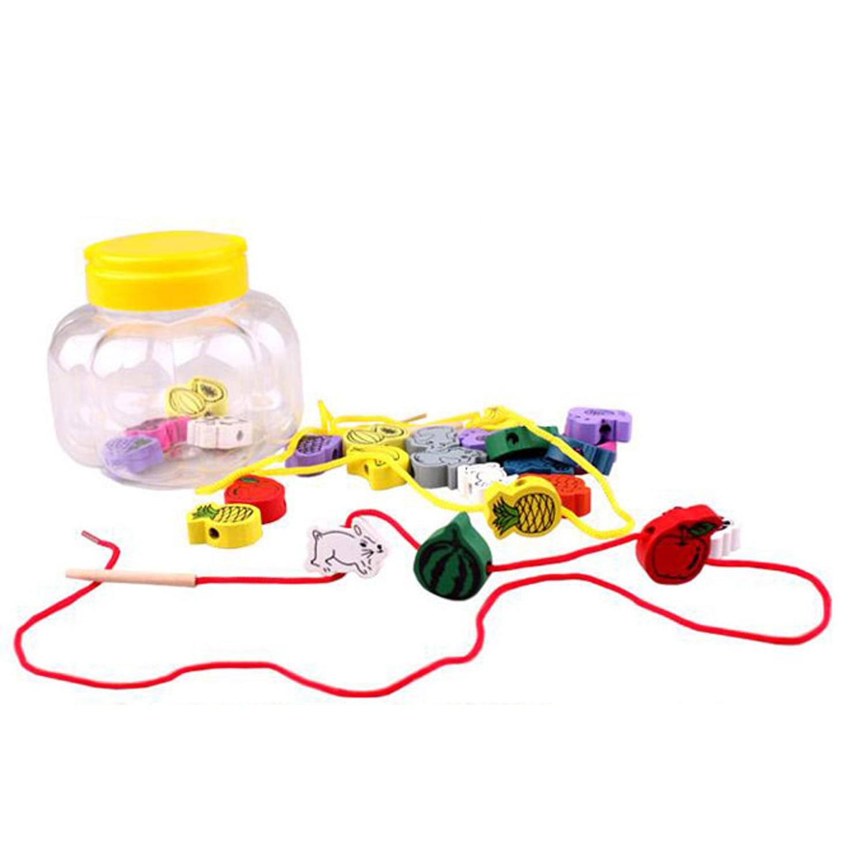 24pcs Kids Baby Wooden Beads Cartoon Animals Wood Bead Montessori DIY Stringing Threading Bead Jewelry Making Beaded Game Toys