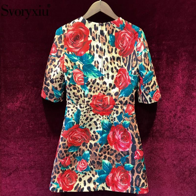 Svoryxiu Runway Custom Vintage Party Jacquard Dress Women's Half Sleeve Appliques Red Rose Leopard Printed Summer Mini Dresses